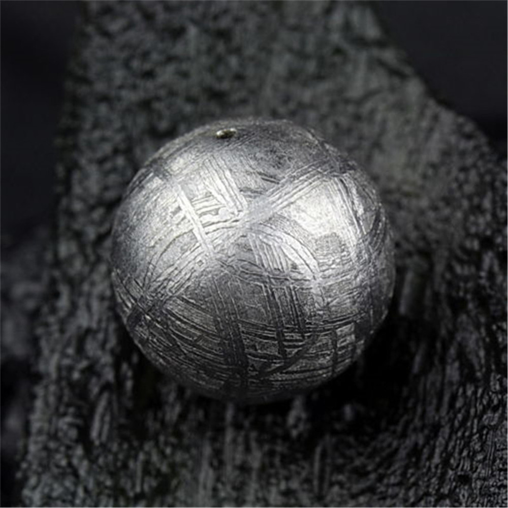 14mm Genuine Natural Gibeão Meteorito de Ferro Moldavita Solto Forma Redonda de Prata Um Talão Acessório Para DIY Colar Pulseira AAAAA - 6