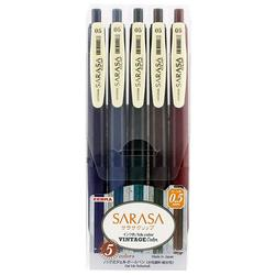 Zebra Sarasa зажим 0,5 Выдвижная гелевая ручка с чернилами резиновая ручка 0,5 мм винтажный набор цветов 5 цветов