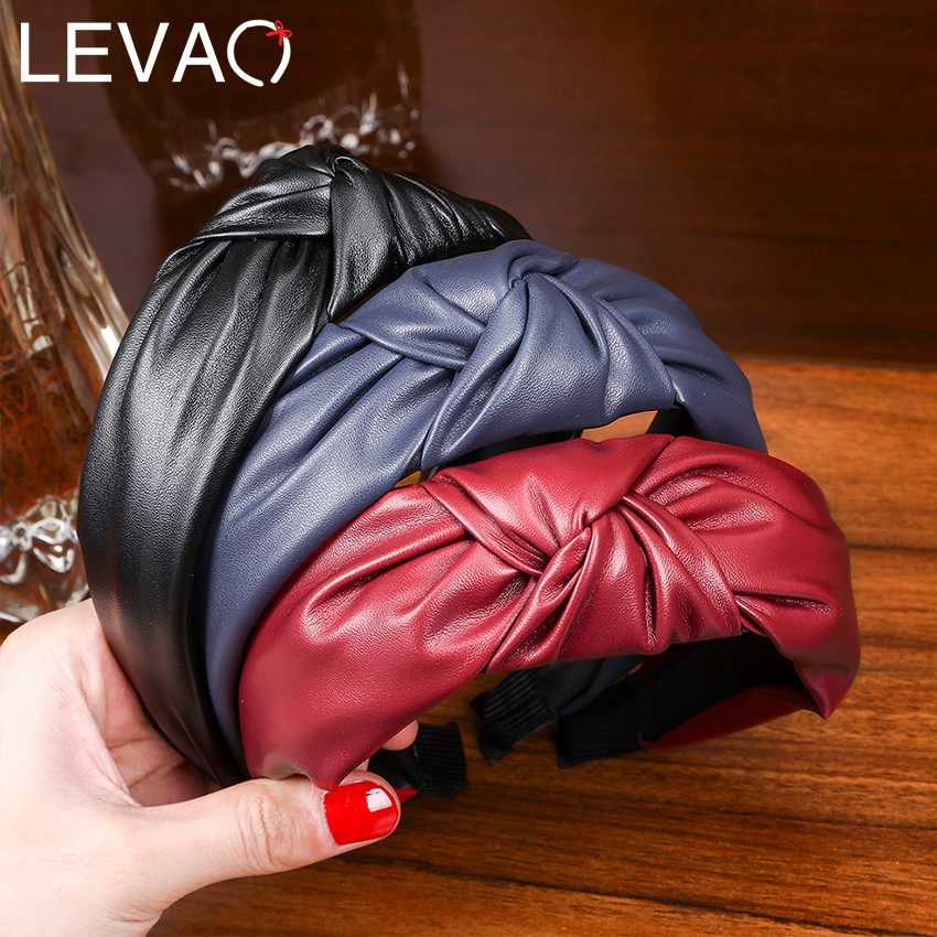 Levao New Fashion PU Leather Headband For Women Bow Knotted Hair Hoop Bands Female Hairband Boutique Headdress Dress Accessories