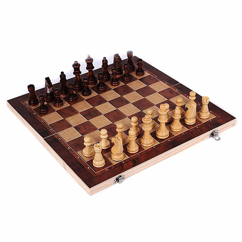 ABUO-3 in 1 Wooden International Chess Set Board Travel Games Chess Backgammon Draughts Entertainment