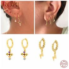 ROXI Luxus Bunte Edelsteine Kreuz Hoop Ohrringe für Frauen Runde Perlen Hoop Blitz Ohrringe 925 Sterling Silber Schmuck