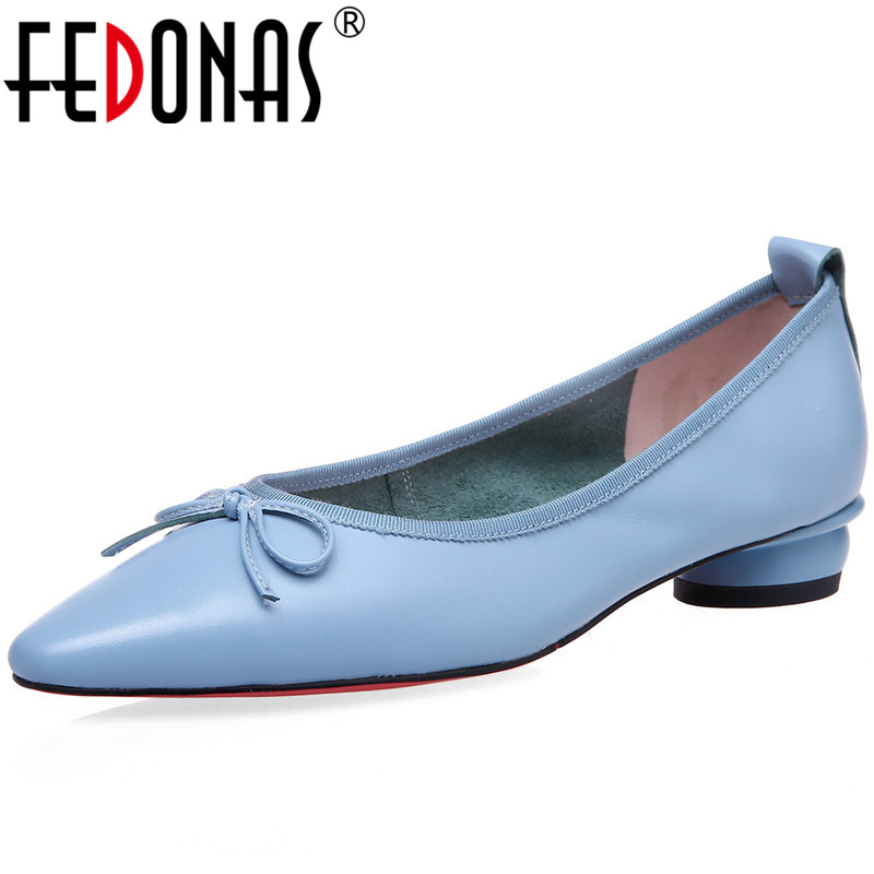 FEDONAS Women Genuine Leather Casual Wedding Party Shoes Spring Summer Butterfly Knot Sweet Concise New Arrival Shoes Woman
