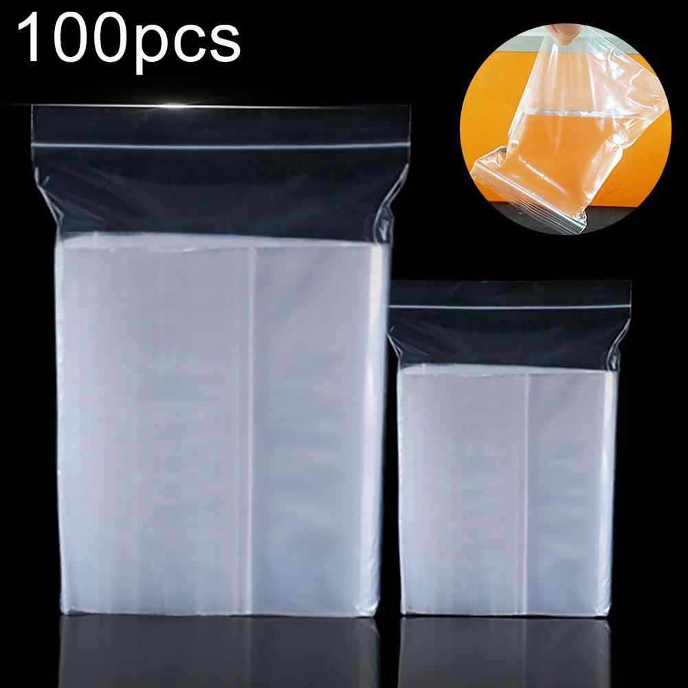 100Pcs Plastic Transparent Reclosable Storage Bags Ziplock Thickened Packaging Sealed Bone Bag Jewelry Food Snacks Storage Pouch