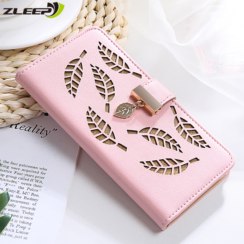 Leaf Leather Case For Huawei P20 P30 Pro Mate 20 <font><b>30</b></font> Honor 10 <font><b>Lite</b></font> 8X <font><b>P</b></font> Smart Plus Y5 Y6 2017 2018 Y7 2019 Flip Stand Phone Cover image