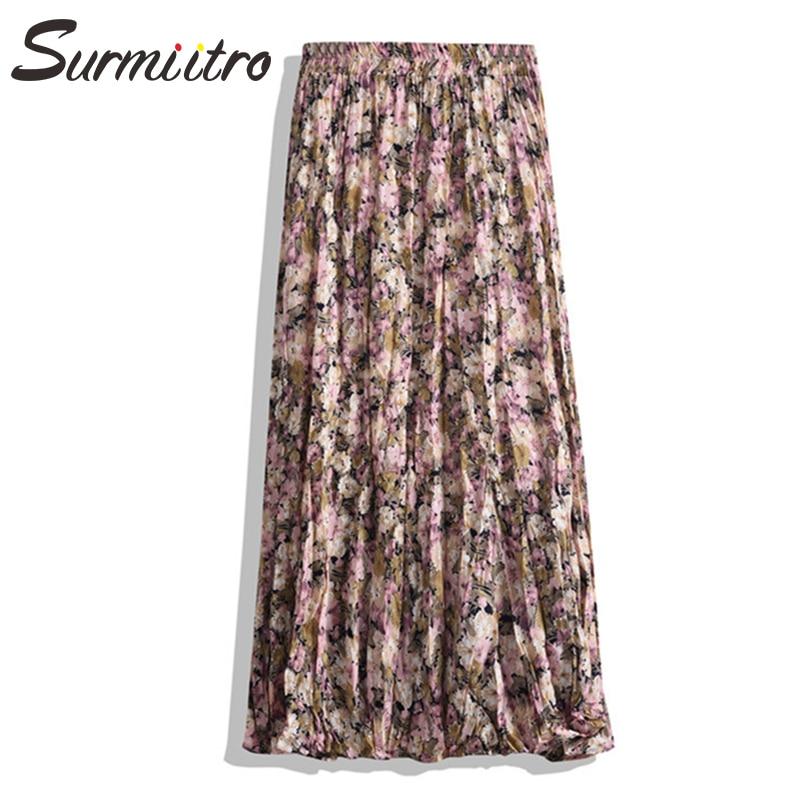 Surmiitro saia longa feminina 2020 primavera verão chiffon coreano amarelo vermelho roxo de cintura alta sol escola saia midi plissado feminino
