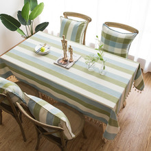 Modern Tablecloths Coffee Restaurant Dining Simple Blue Green Striped Table Cloth With Tassel 100% Cotton Waterproof Table Cover furniture restaurant combination adjustable fold modern simple dining table