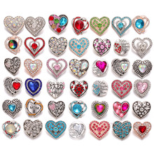 6pcs/lot New Snap Jewelry Bracelet Ginger Charms Rhinestone Crystal Love Heart 18mm Metal Snap Buttons Fit Snap Button Bracelet