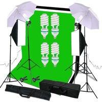 Fotoğraf Stüdyosu Kiti 6x9 ft. Yeşil Beyaz Siyah Muslin Backdrop Ekran ve Destek Sistemi