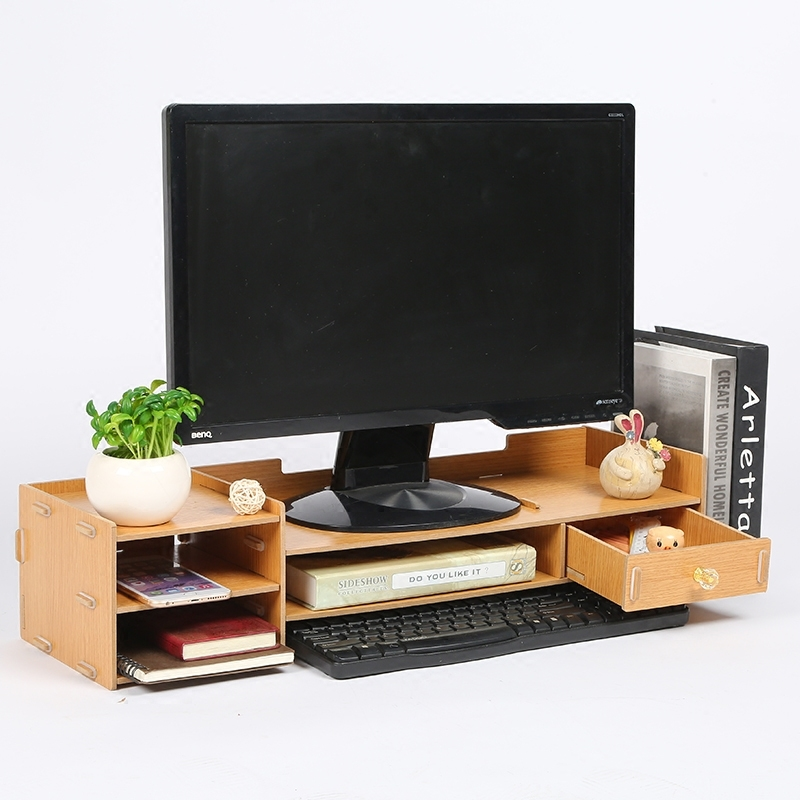 Meuble TV bureau ecran moniteur ordinateur etagere augmentée boite de rangement bureau étagère tiroir etagere clavier
