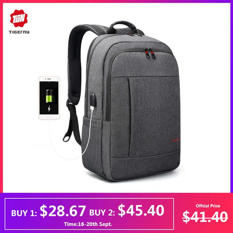 Tigernu Анти Вор USB рюкзак 15,6 - 17 дюймов ноутбук рюкзак для женщин, мужчин, школьная сумка женский мужской рюкзак путешествия