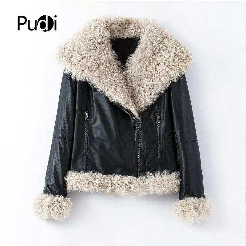 Pudi frauen winter motorrad echtem leder mantel freizeit weibliche echt schafe pelzmantel jacke mantel Tuch B401707