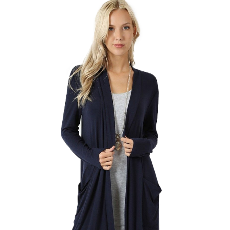 Solid Cardigan  Middle Length Women's Autumn Long Sleeved Thin Loose Coats Outwear Pocket Women's Cardigan Long 3
