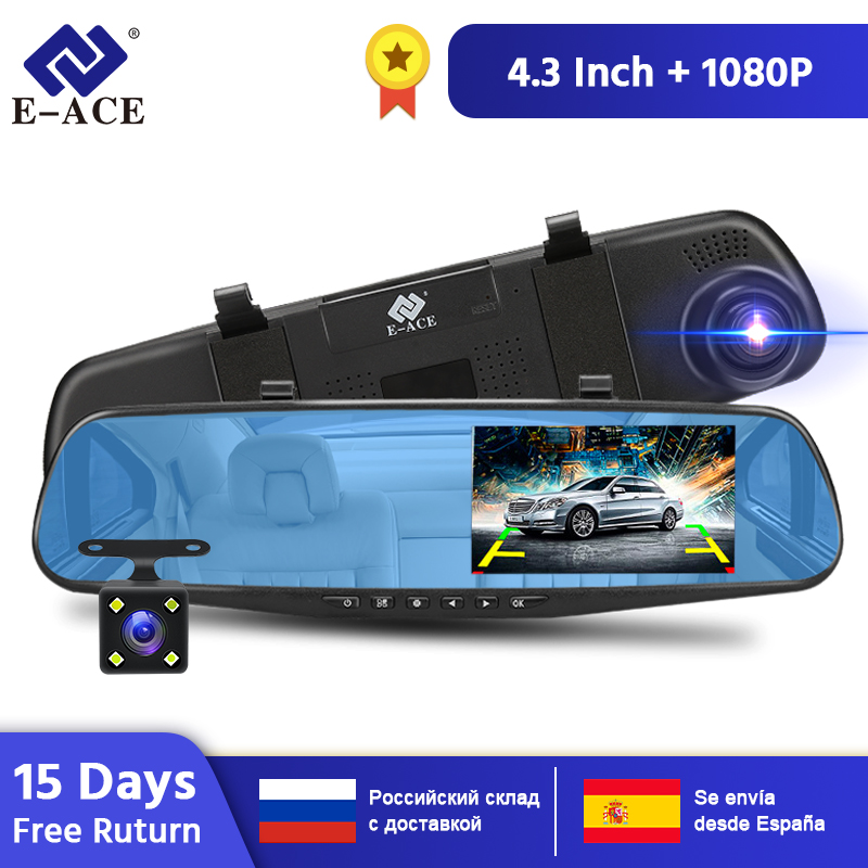 E-ACE 4.3 Inch <font><b>Car</b></font> Dvr Camera Full HD 1080P Automatic Camera Rear View Mirror With DVR And Camera Recorder Dashcam <font><b>Car</b></font> <font><b>DVRs</b></font> image