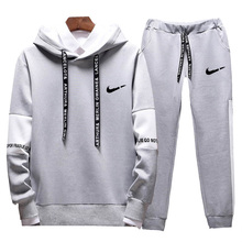 Mens hoodie suit spring and autumn brand casual sportswear mens sports two-color stitching running