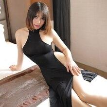 Сексуальное женское белье Для женщин вьетнамское аозай униформы в народном стиле Стиль Ночной Клубная одежда сексуальная с высокой талией с боковыми платья Чонсам для девочек ночная рубашка