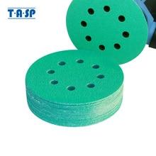TASP 25 шт. профессиональная наждачная бумага 125 мм, 5 дюймов, пленочный шлифовальный диск, влажные и сухие абразивные инструменты с липучками и петлями, 60 ~ 400