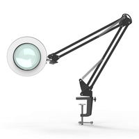 LED Desk Lamp with Clip 5Xlens Magnifying Glass Light Clamp Swing Arm Table Lamps USB Night Lights Dimming 3Colors for Tattoo