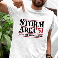 Storm Area 51 Alien Shirt Funny Classic UFO Tshirt Lets See Them Aliens Fashion Cartoon Men 100% Cotton Man