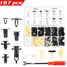 167PCS Car Push Retainer Clips Kit 12 Most Popular Sizes Nylon Auto Body Fasteners with Remover for GM Toyota Honda Nissan Mazda