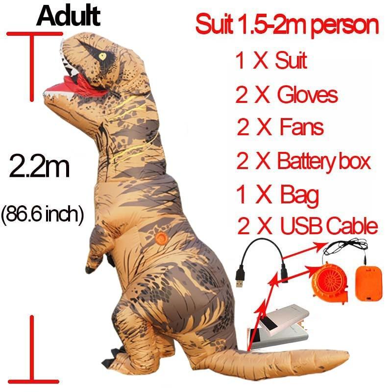 Jurassic World Hot Adult Inflatable Velociraptor Costume Cosplay Dinosaur T REX Costume Halloween T Rex Costumes For Women Men (111)