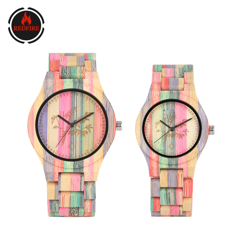 REDFIRE Carving Bamboo Tree Colorful Wood Watch Fashion New Couple Natural Wooden Clock Unique Lovers Wristwatch Reloj De Pareja