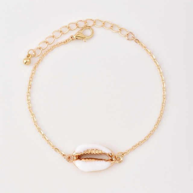 Boho biżuteria muszle bransoletka dla kobiety złoto proste Bohemia bransoletki kobiet modne bransoletki Accesorios Mujer