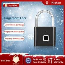 Fingerprint Padlock Door-Luggage Metal Rechargeable USB Quick for Self-Developing-Chip