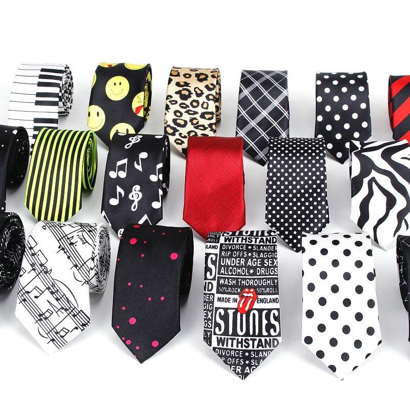 Men Fashion Style Slim Necktie Skinny Scrawl Dot Stripe Black Tie For Man Designer Plaid Necktie Casu Party Formal Bow Knot Ties