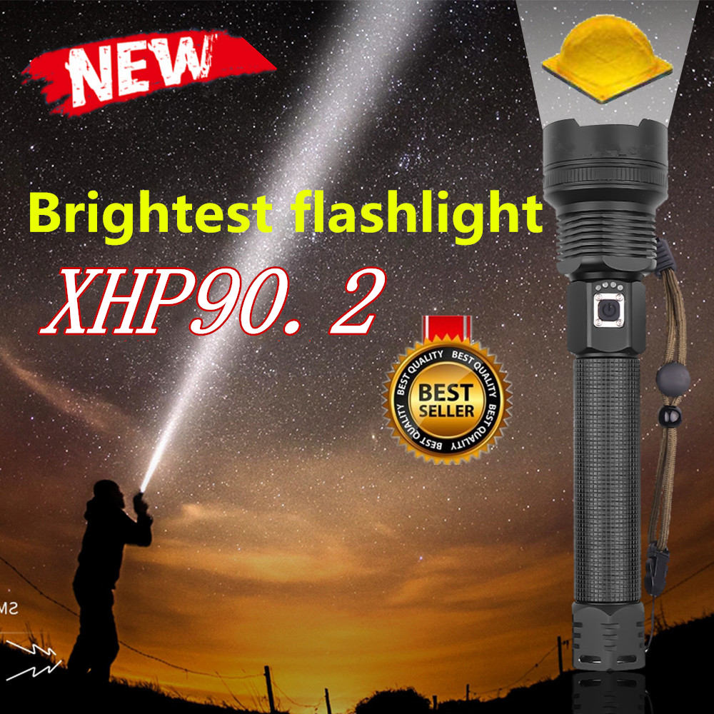 Highest Lumen XHP 90.2 LED Flashlights XHP70 Zoom Tactical Torch Waterproof LED Flash Light 26650 USB Rechargeable Linterna