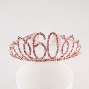 Happy 30th 40th 50th 60th 70th розовая тиара на день рождения корона со стразами на день рождения