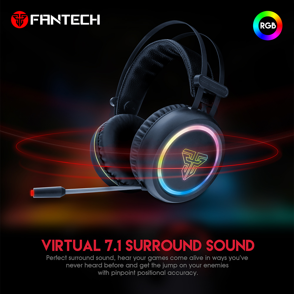 FANTECH HG15 USB Plug And Remote Profession Gaming Earphone Big Headphones with Light Mic Stereo Earphones For FPS