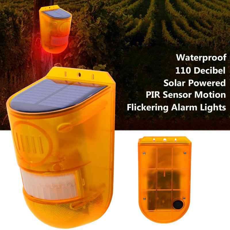 Solar Powered Sound Alarm Strobe Light LED Flashing Light 110db for Home IP65