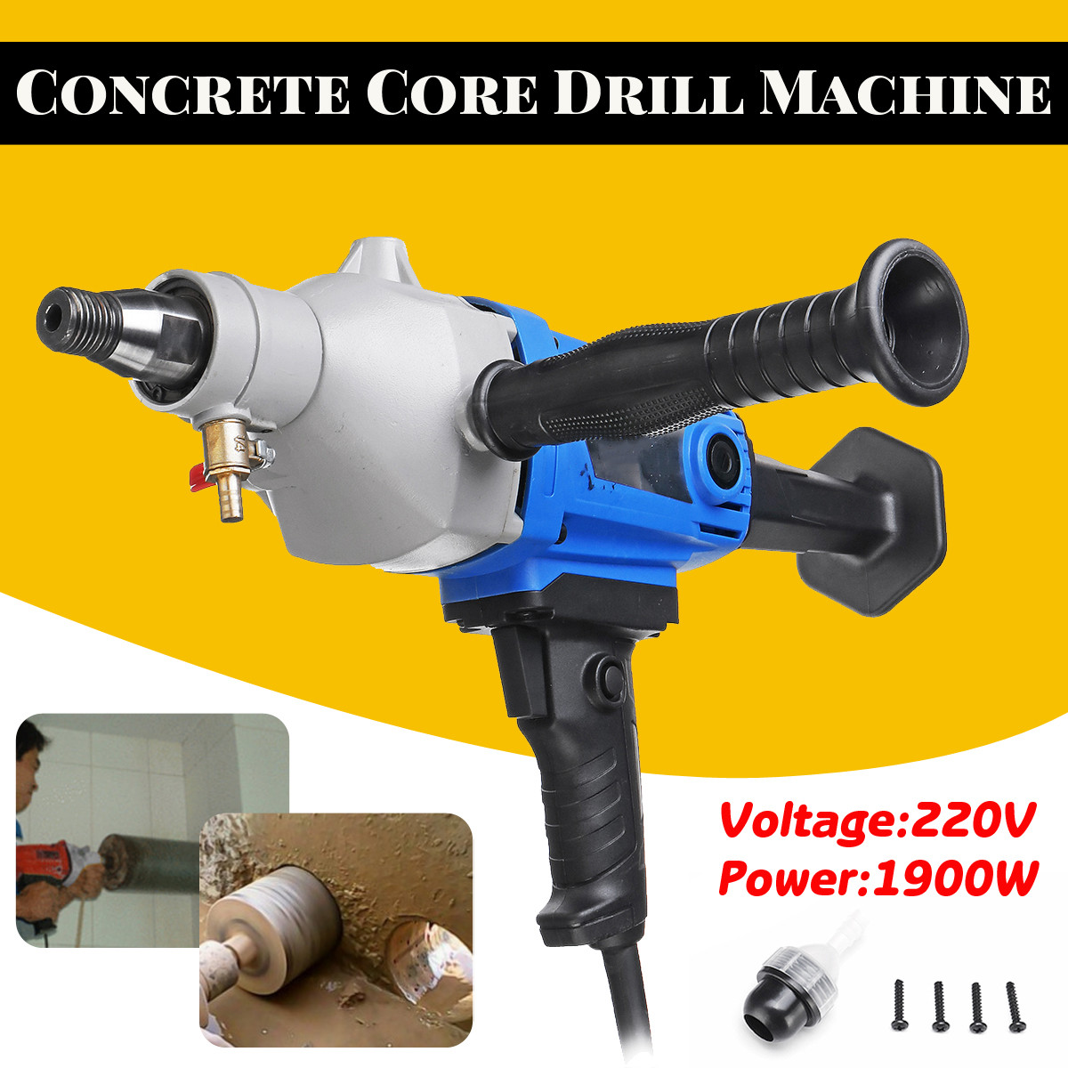 Newest 1900W 118mm Diamond Core Drill 220V Wet Handheld Concrete Core Drilling Machine with Water Pump Accessories Power Tools