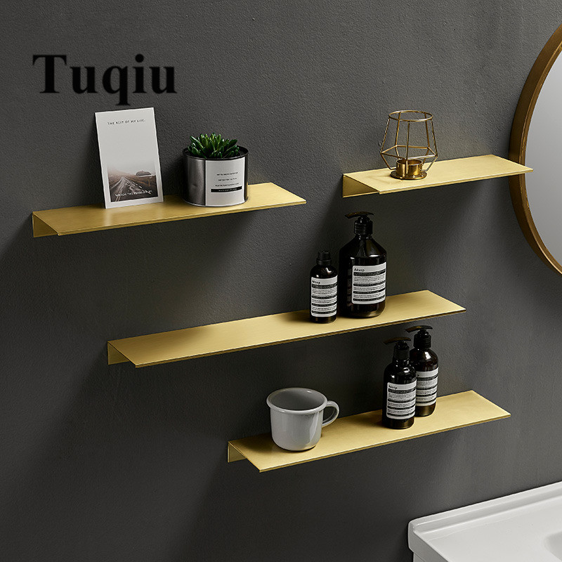 Tuqiu Bathroom Shelf  Wall Mounted Or Nail Free Bath Shower Shelf Brushed Gold Bath Shampoo Holder Rack Aluminum Basket Holder