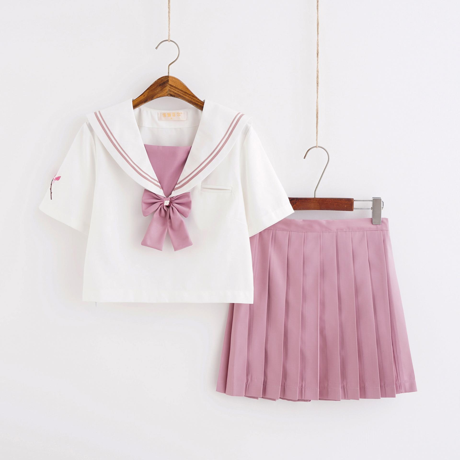 Japanese Girl JK Uniform Sailor Style Suit Student White Blouse School Uniform Short Sleeve Suit Women Pink Pleated Skirt Summer