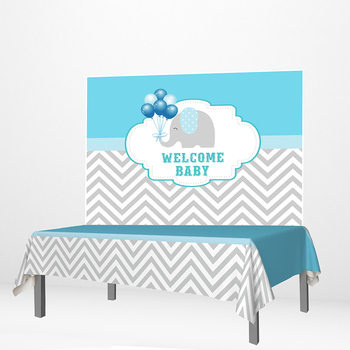 Allenjoy Welcome Baby Backdrops Econ Polyester Elephant Balloons Wave Blue Baby Shower Party Supplies Newborn Event Tablecloth
