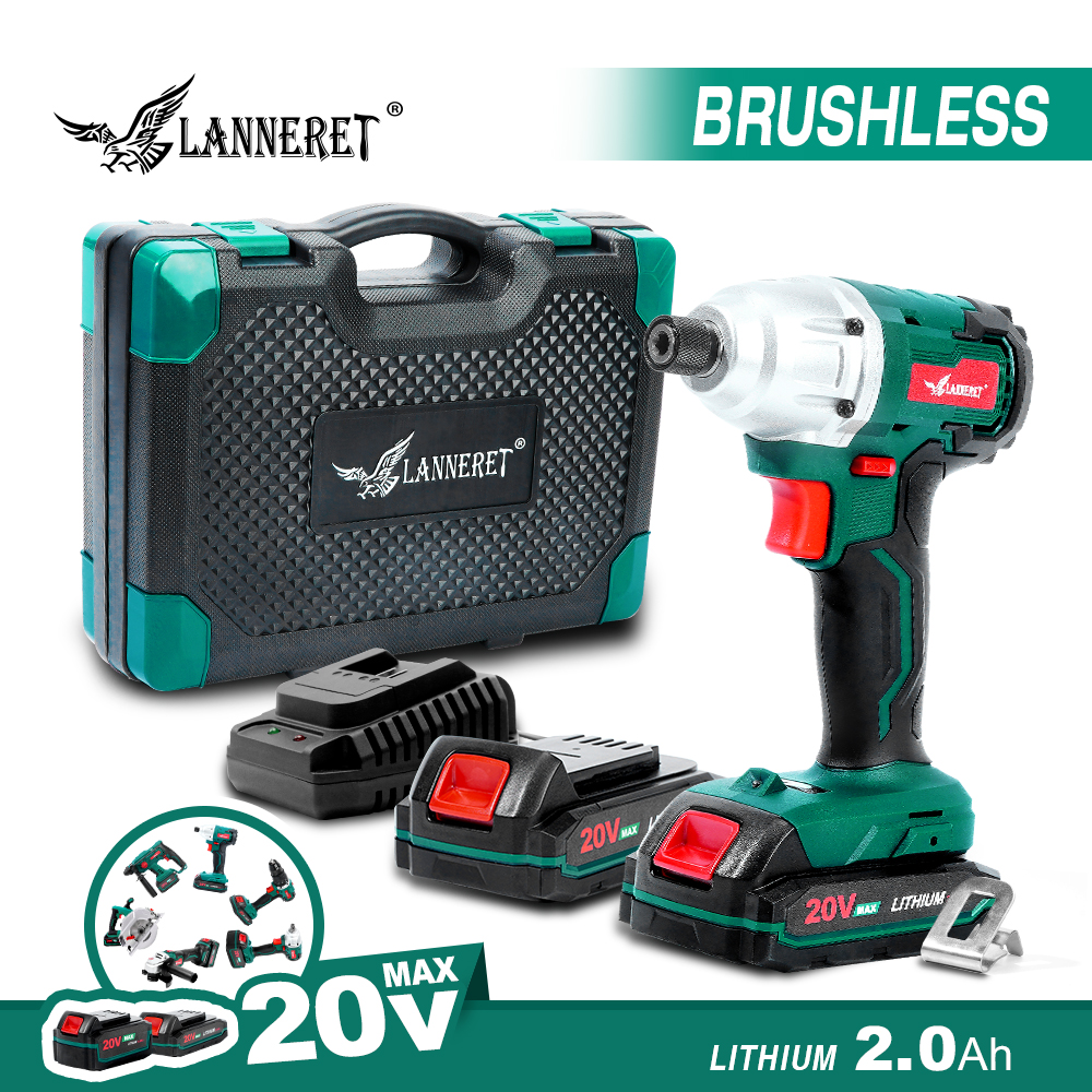 LANNERET Electric Cordless Screwdriver 20V Brushed Brushless Driver Auto-stop Mode 2 Speed LED Light 260Nm 1/4