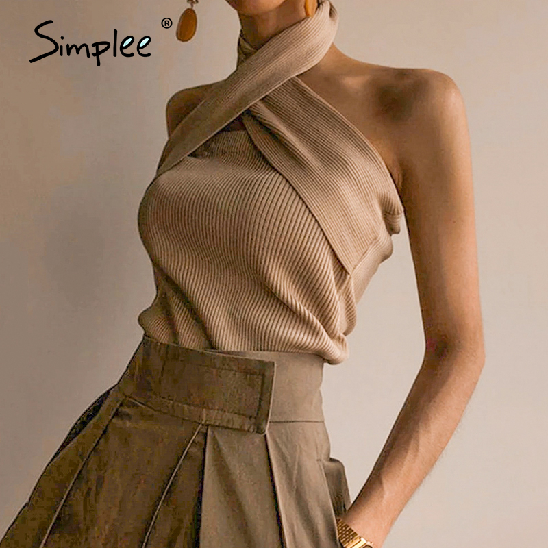 Simplee Elegant Halter Neck Women Tank Tops Casual Streetwear Summer Solid Female Tops Sexy Sleeveless Ladies Cami Tops 2020