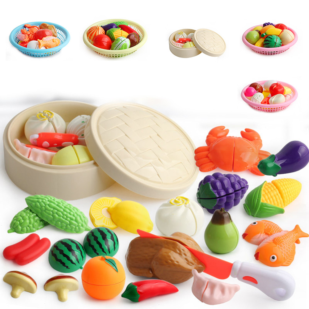 Children Cut Fruits And Vegetables Toys Play House Combination Food Pretend Play Children Kid Educational Toy Set L0219