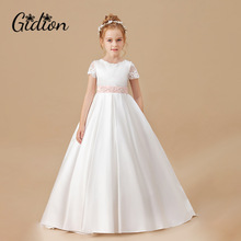 Dress Flower-Girls Birthday-Party Butterfly Wedding Pink Children Sleeveless Clothing