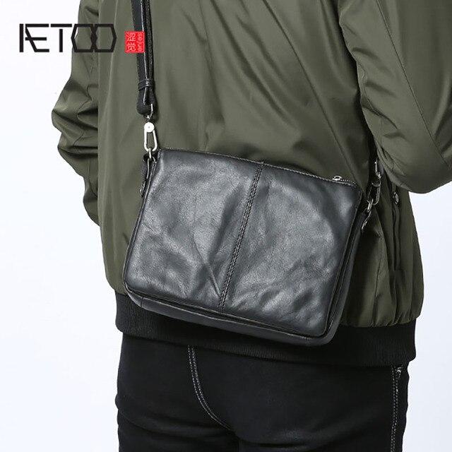 AETOO sac à main en cuir pour hommes, sacoche simple à épaule fashion, sacoche multifonctionnelle