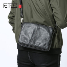 Aetoo masculino bolsa de couro simples moda bolsa de ombro único saco crossbody multifuncional bolsa