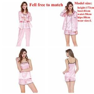 Image 3 - JULYS SONG Pink Womens 7 Pieces Pajamas Sets Faux Silk Striped Pyjama Women Sleepwear Sets Spring Summer Autumn Homewear