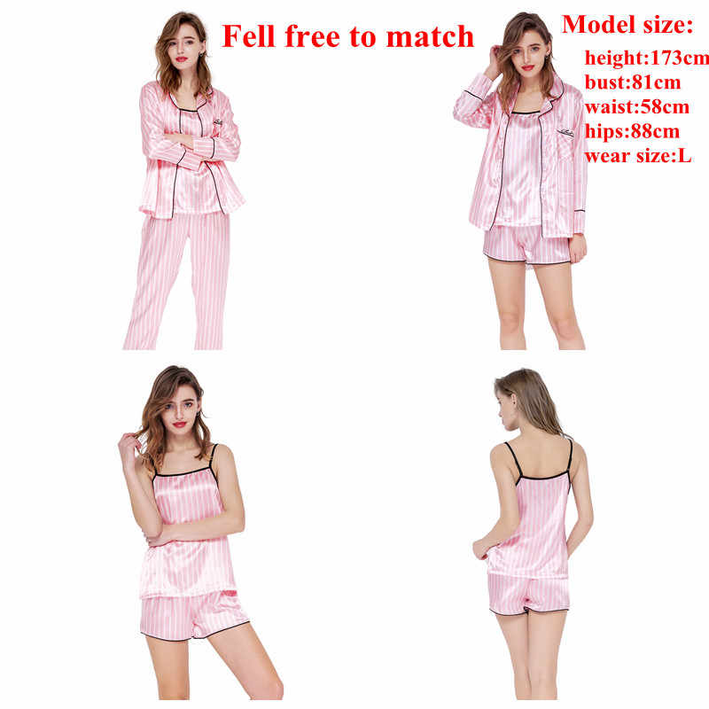July's SONG 핑크 여성 7 조각 잠옷 세트 에뮬레이션 실크 스트라이프 잠옷 여성 잠옷 세트 봄 여름 가을 Homewear