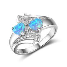 Классическое милое кольцо с двойным сердечком и огненным опаловым