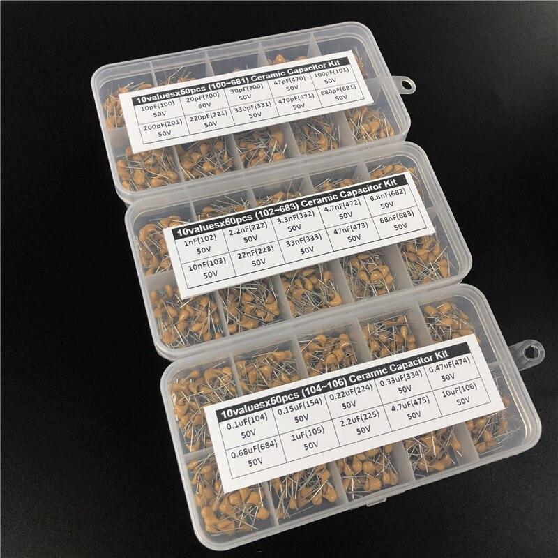 1500pcs 30Valuesx50 10pF ~ 10uF (100 ~ 106) multilayer/Monolithic Ceramic Capacitor Assorted kit com 3 caixa de armazenamento
