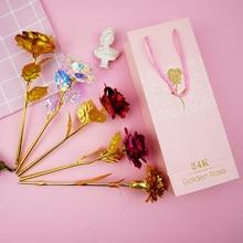 24K Foil Plated Rose Gold Starry Sky Crystal Flower Lasts Forever Love Wedding Decor Lover Lighting