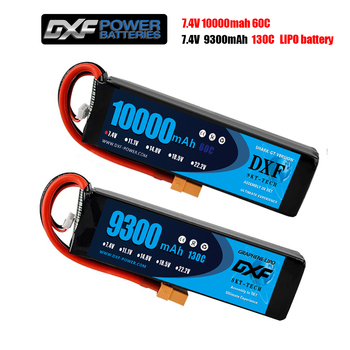 DXF RC Car Lipo 2S  Battery 7.4V 10000mah 60C/7.4V 9300mah 130C Rc Airplane car Parrot Bebop 2 Drone replacement core