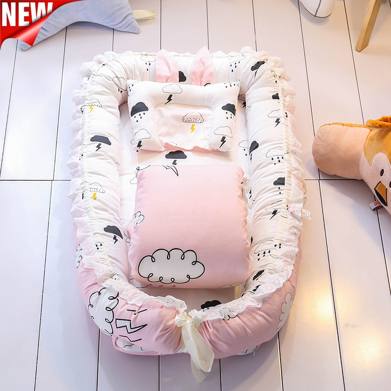 55*90 Mobile Portable Crib Baby Nest Bed Portable Crib Travel Bed Infant Toddler Cotton Cradle For Newborn Baby Bassinet Bumper