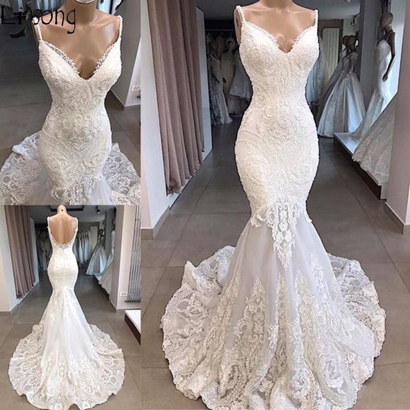 Elegant Tulle Spaghetti Straps Mermaid Wedding Dresses Luxury Beaded Lace Appliques Bridal Wedding Gowns Vestido De Noiva